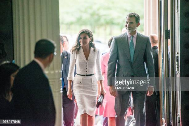 King Felipe VI and Queen Letizia enter Gallier Hall to attend the city's Tricentennial celebration in New Orleans La June 16 2018