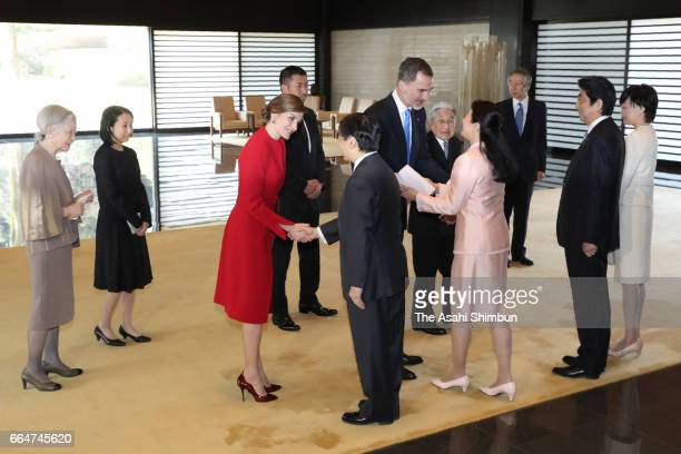 King Felipe VI and Queen Letizia of Spain are greeted by Crown Prince Naruhtio and Crown Princess Masako while Emperor Akihito Empress Michiko Prime...