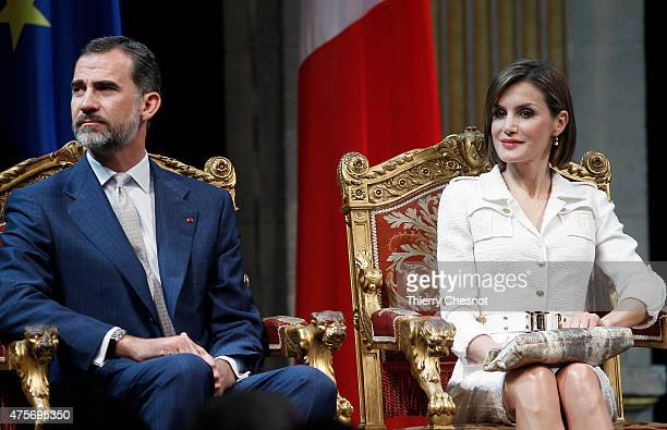 King Felipe VI and Queen Letizia of Spain attend a ceremony at Hotel de Ville on 03 June 2015 in Paris France Felipe VI of Spain and Queen Letizia of...
