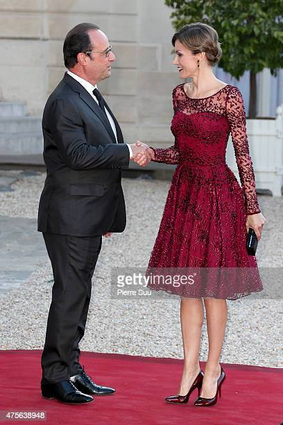 King Felipe VI and Queen Letizia of Spain attend a state dinner at the Elysee Palace on June 2 2015 in Paris France