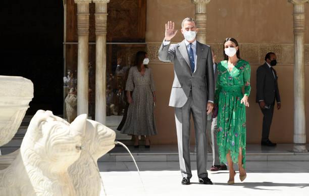 ESP: Spanish Royals Visit An Exhibition At Alhambra In Granada