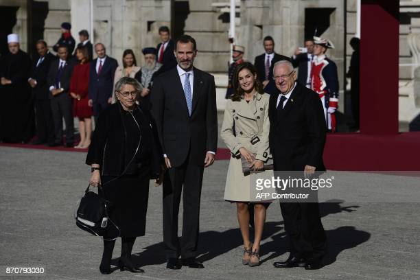 King Felipe VI and Queen Letizia of Spain greet Israeli President Reuven Rivlin and his wife Nechama Rivlin during a welcoming ceremony at the Royal...