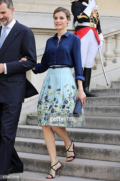 King Felipe VI and Queen Letizia of Spain visit the Velasquez Exhibition at Le Grand Palais on June 2 2015 in Paris France