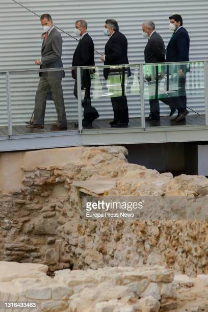 King Felipe VI and the Minister of Culture and Sport, Jose Manuel Rodriguez Uribes during his visit to the site of the Forum Quarter at the...