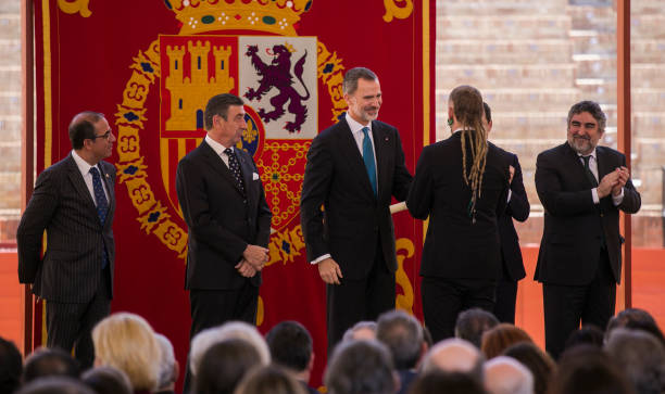 King Felipe VI and the minister of Culture and Sports Jose Manuel Rodriguez Uribes during the ceremony of the Bullfighting and University Awards of...