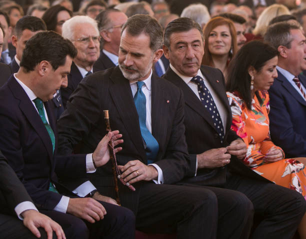King Felipe VI and the president of Andalucia Juanma Moreno during the ceremony of the Bullfighting and University Awards of the Real Maestranza de...