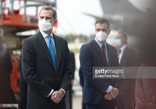 King Felipe VI and the President of the Government, Pedro Sanchez, during the inauguration of the new Airbus campus, on 15 April 2021, in Getafe,...
