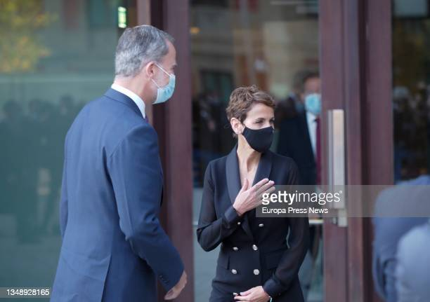 King Felipe VI and the Secretary General of the PSN, Maria Chivite, on their arrival at the opening of the XXIV National Congress of Family...