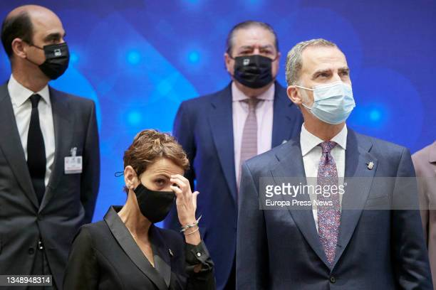King Felipe VI and the secretary general of the PSN, Maria Chivite , pose during the opening of the 24th National Congress of Family Businesses at...
