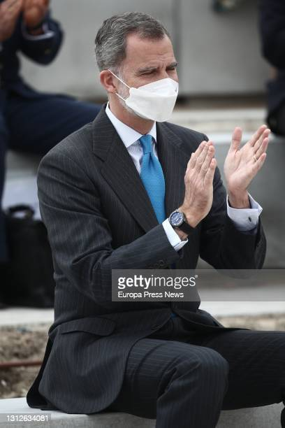 King Felipe VI applauds during the inauguration of the new Airbus campus on 15 April 2021 in Getafe, Madrid, Spain. This campus makes the region the...