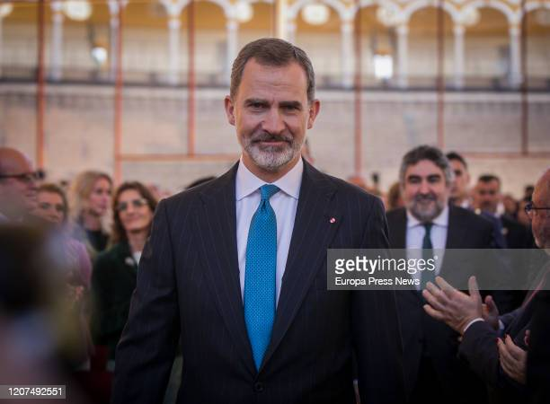 King Felipe VI, at his arrival to the ceremony of the Bullfighting and University Awards of the Real Maestranza de Caballeria, in the Real Maestranza...