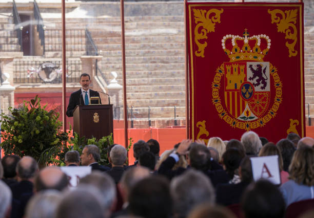 King Felipe VI during his speech at the ceremony of the Bullfighting and University Awards of the Real Maestranza de Caballeria in the Real...