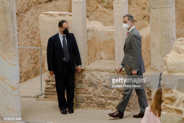 King Felipe VI during his visit to the site of the Forum Quarter at the inauguration of the new Museum of the Roman Forum Molinete de Cartagena in...