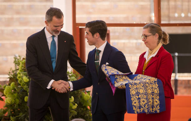 King Felipe VI during the ceremony of the Bullfighting and University Awards of the Real Maestranza de Caballeria in the Real Maestranza Bullring of...