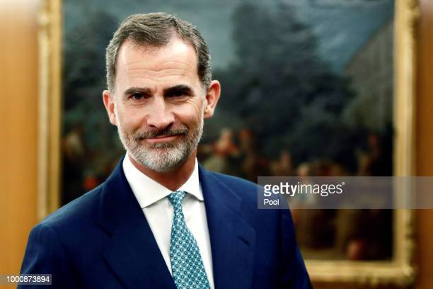 King Felipe VI during the meeting of the National Security Council at the Palacio de la Zarzuela on July 16 2018 in Madrid Spain