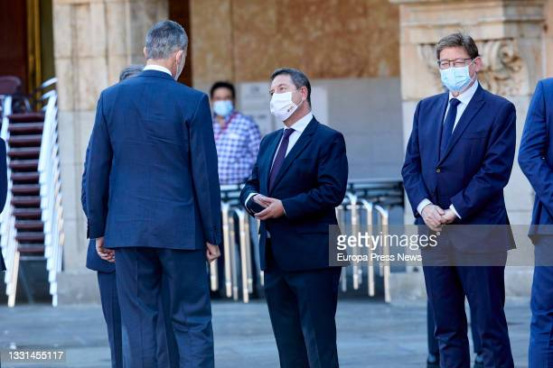 King Felipe VI , greets the President of Castilla-La Mancha and Secretary General of the PSOE in the region, Emiliano Garcia-Page , after his arrival...