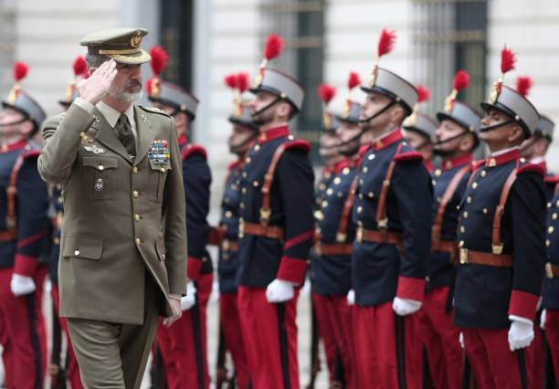 ESP: King Felipe Of Spain Visits The Spanish General Army Headquarters