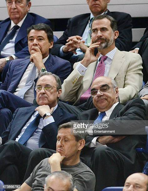 King Felipe VI Ignacio Gonzalez and Florentino Perez attend the trophy during the Turkish Airlines Euroleague Final Four Madrid 2015 Champion Trophy...