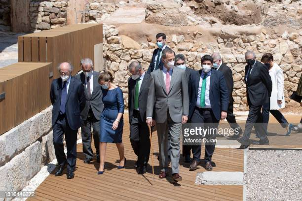 King Felipe VI inaugurates the new museum of the Roman forum in Cartagena together with authorities of the Region of Murcia, on May 05, 2021 in...