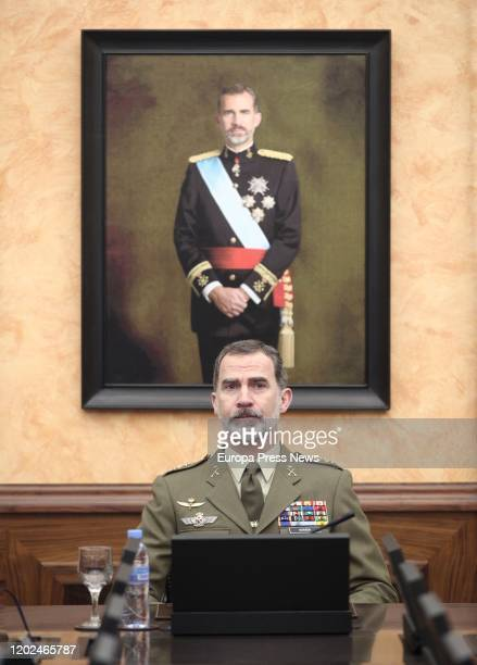 King Felipe VI is seen at the meeting with senior military officials of Army, during his visit to the Spanish General Army Headquarters on January...