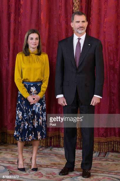 King Felipe VI of Spain aand Queen Letizia of Spain receive Palestinian President Mahmoud Abbas at the Royal Palace on November 20 2017 in Madrid...