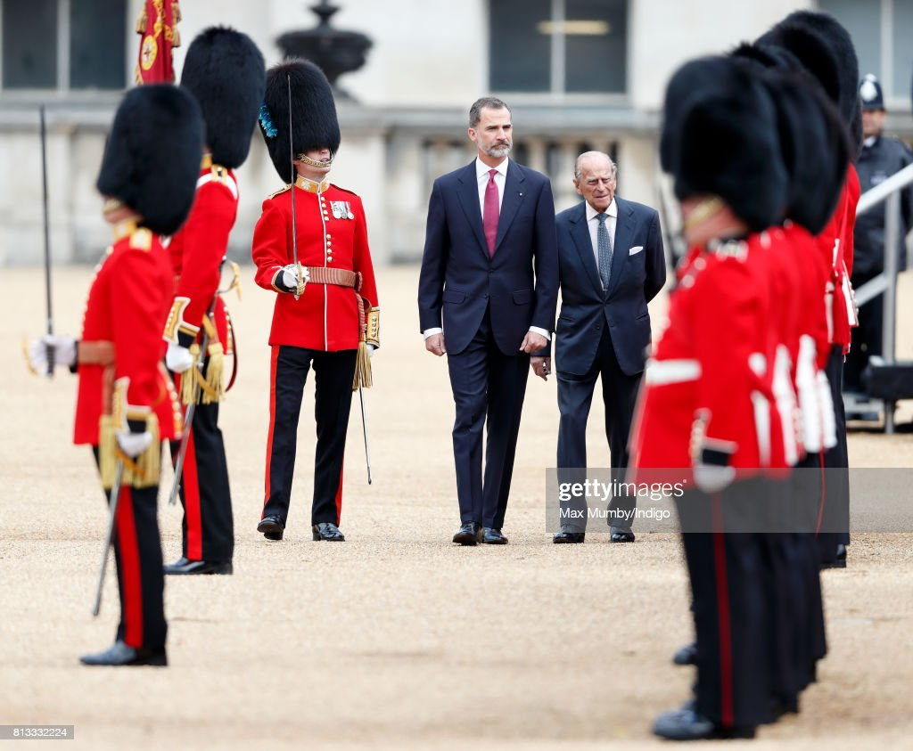 King Felipe VI of Spain, accompanied by Prince Philip, Duke of Edinburgh, inspects a guard of honour during his ceremonial welcome at Horse Guards Parade on day 1 of his State Visit on July 12, 2017 in London, England. This is the first state visit by the current King Felipe and Queen Letizia, the last being in 1986 with King Juan Carlos and Queen Sofia.