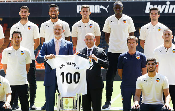 ESP: King Felipe Of Spain Visits Valencia Football Club Stadium