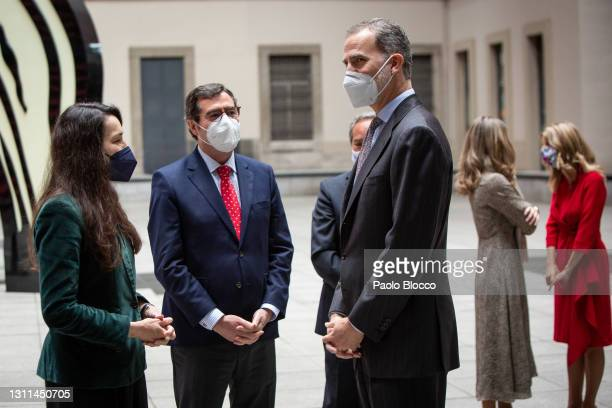 King Felipe VI Of Spain and Antonio Garamendi attend CEPYME awards at the Reina Sofía Museum on April 08, 2021 in Madrid, Spain.