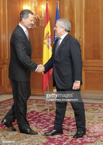 King Felipe VI of Spain and Antonio Tajani attend audience during the Princess of Asturias awards 2017 at the Reconquista Hotel on October 20 2017 in...