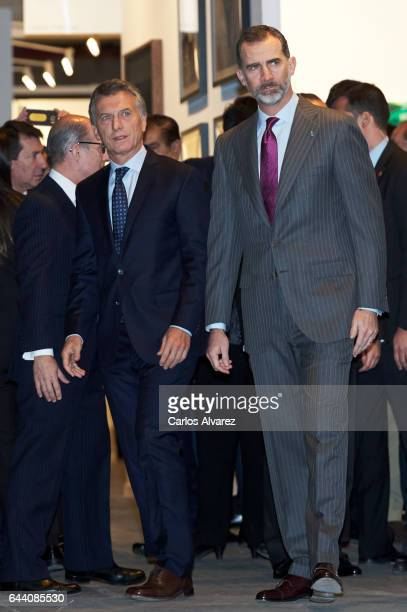 King Felipe VI of Spain and Argentina's President Mauricio Macri attend the opening of ARCO 2017 at Ifema on February 23 2017 in Madrid Spain