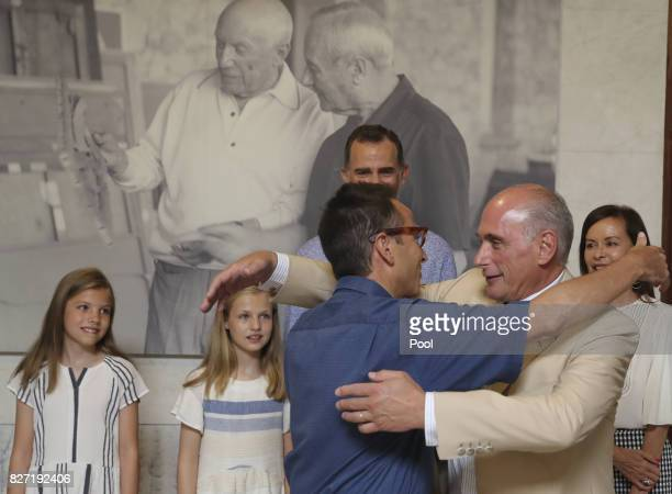 King Felipe VI of Spain and daughters Princess Leonor of Spain and Princess Sofia of Spain along with Bernard RuizPicasso Almine Rech Picasso and...
