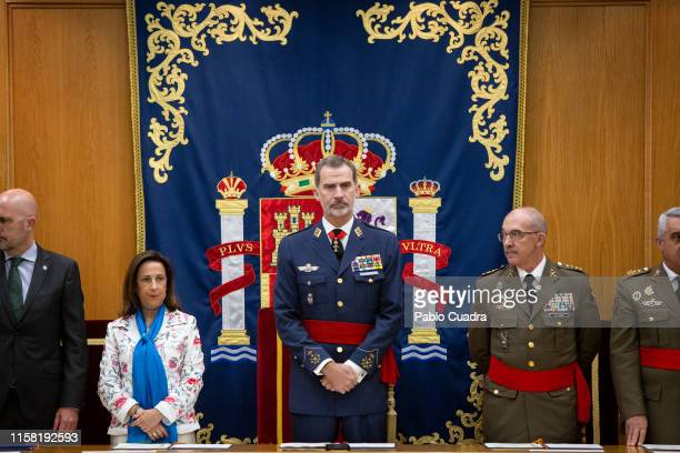 King Felipe VI of Spain and Defense Minister Margarita Robles visit the Higher School of The Armed Forces on June 25, 2019 in Madrid, Spain.