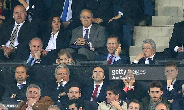 King Felipe VI of Spain and his daughter Princess Leonor de Bourbon attend between head coach of Spain Vicente del Bosque and President of Atletico...