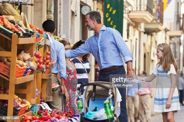 King Felipe VI of Spain and his daughter Princess Leonor of Spain visit the Can Prunera Museum on August 6 2017 in Palma de Mallorca Spain