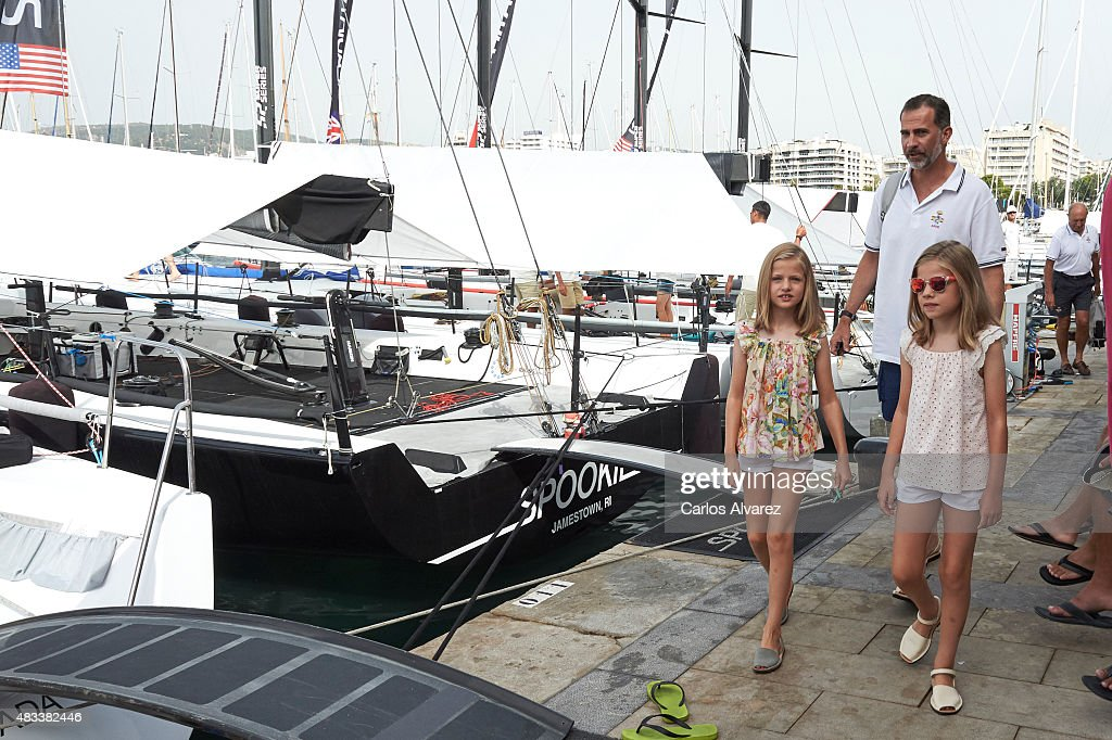 King Felipe VI of Spain and his daugthers Princess Leonor of Spain (L) and Princess Sofia of Spain (R) visit the Aifos boat during the last day of 34th Copa del Rey Mapfre Sailing Cup on August 8, 2015 in Palma de Mallorca, Spain.