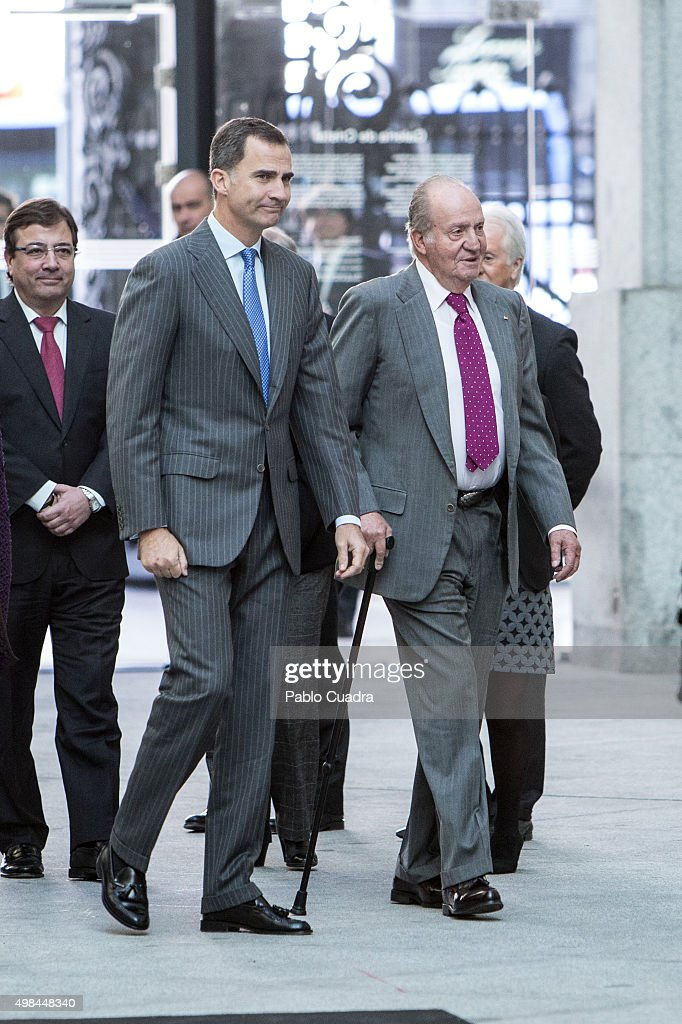 King Felipe VI of Spain and his father King Juan Carlos attend COTEC Foundation meeting on November 23, 2015 in Madrid, Spain.