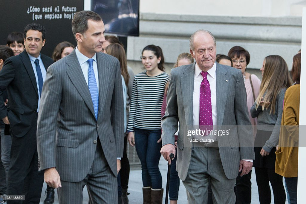 King Felipe VI of Spain and his father King Juan Carlos attend COTEC Foundation meeting at Cibeles Palace on November 23, 2015 in Madrid, Spain.