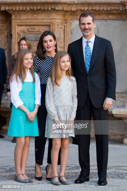 King Felipe VI of Spain and his wife Queen Letizia pose with their daughters Princess Sofia and Princess Leonor after attending the traditional...
