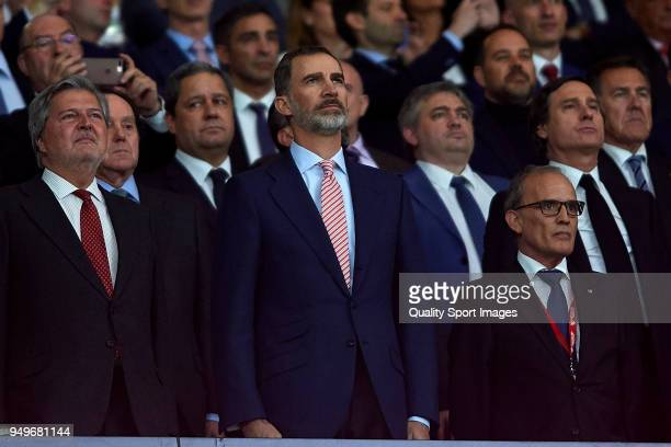 King Felipe VI of Spain and Inigo Mendez de Vigo look on prior to the Spanish Copa del Rey Final match between Barcelona and Sevilla at Wanda...