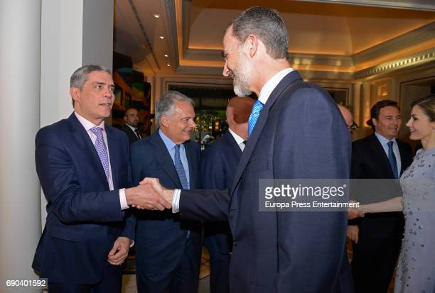 King Felipe VI of Spain and Javier Garcia Vila attend Europa Press news agency 60th Anniversary at the Villa Magna hotel on May 30 2017 in Madrid...