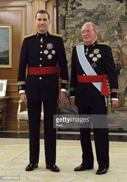King Felipe VI of Spain and King Juan Carlos attend a ceremony in the Hearing Room of Zarzuela Palace prior to the King's official coronation...