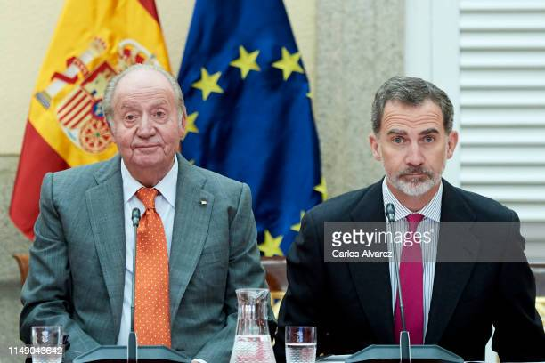 King Felipe VI of Spain and King Juan Carlos attend a meeting with COTEC Foundation at the Royal Palace on May 14 2019 in Madrid Spain