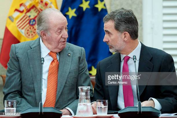 King Felipe VI of Spain and King Juan Carlos attend a meeting with COTEC Foundation at the Royal Palace on May 14, 2019 in Madrid, Spain.