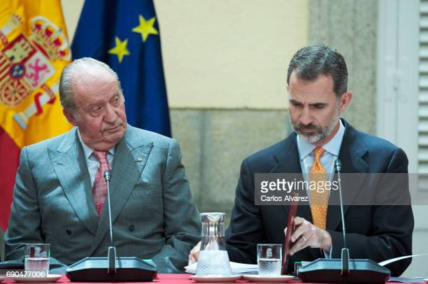King Felipe VI of Spain and King Juan Carlos attend COTEC meeting at the El Pardo Palace on May 31 2017 in Madrid Spain