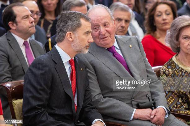 King Felipe VI of Spain and King Juan Carlos attend the National Sports Awards 2017 at the El Pardo Palace on January 10, 2019 in Madrid, Spain.