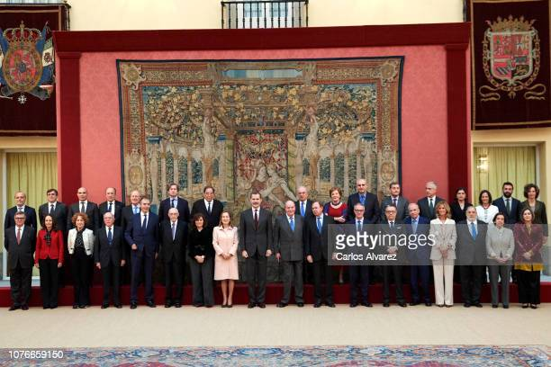 King Felipe VI of Spain and King Juan Carlos host an audience to the Advisory Council of the General Courts for the commemoration of the 40th...