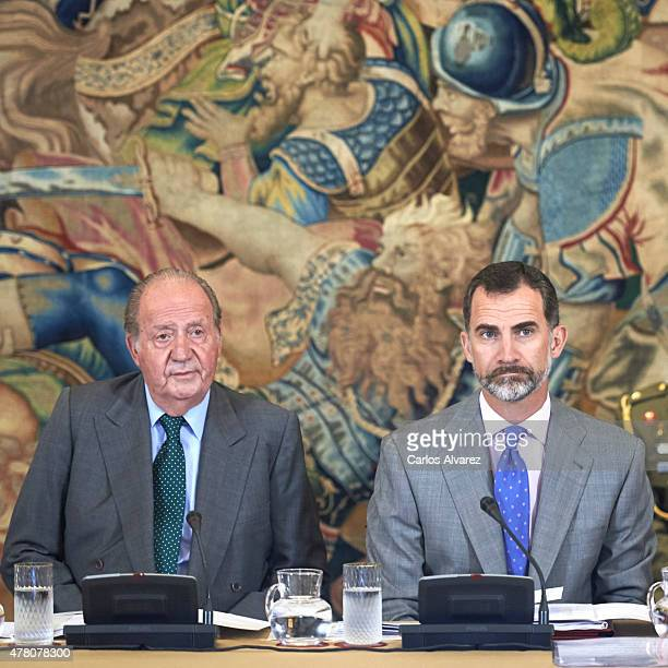 King Felipe VI of Spain and King Juan Carlos receive COTEC Foundation members at the Zarzuela Palace on June 22, 2015 in Madrid, Spain.