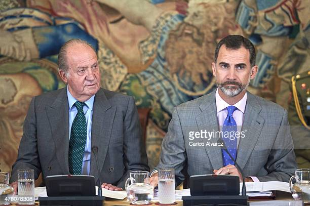 King Felipe VI of Spain and King Juan Carlos receive COTEC Foundation members at the Zarzuela Palace on June 22 2015 in Madrid Spain