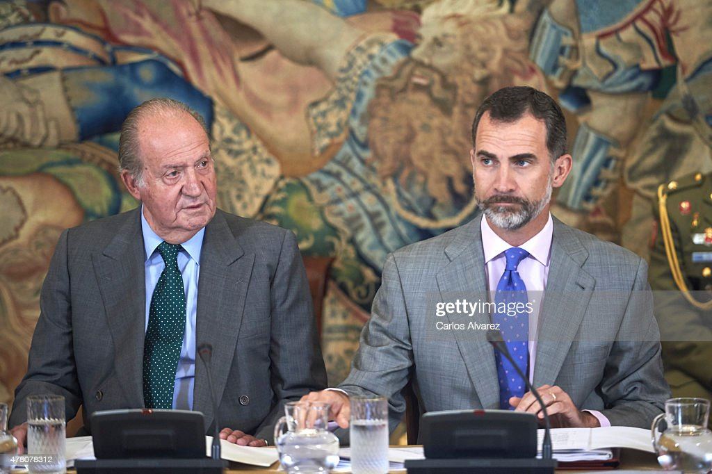King Felipe VI of Spain (R) and King Juan Carlos (L) receive COTEC Foundation members at the Zarzuela Palace on June 22, 2015 in Madrid, Spain.