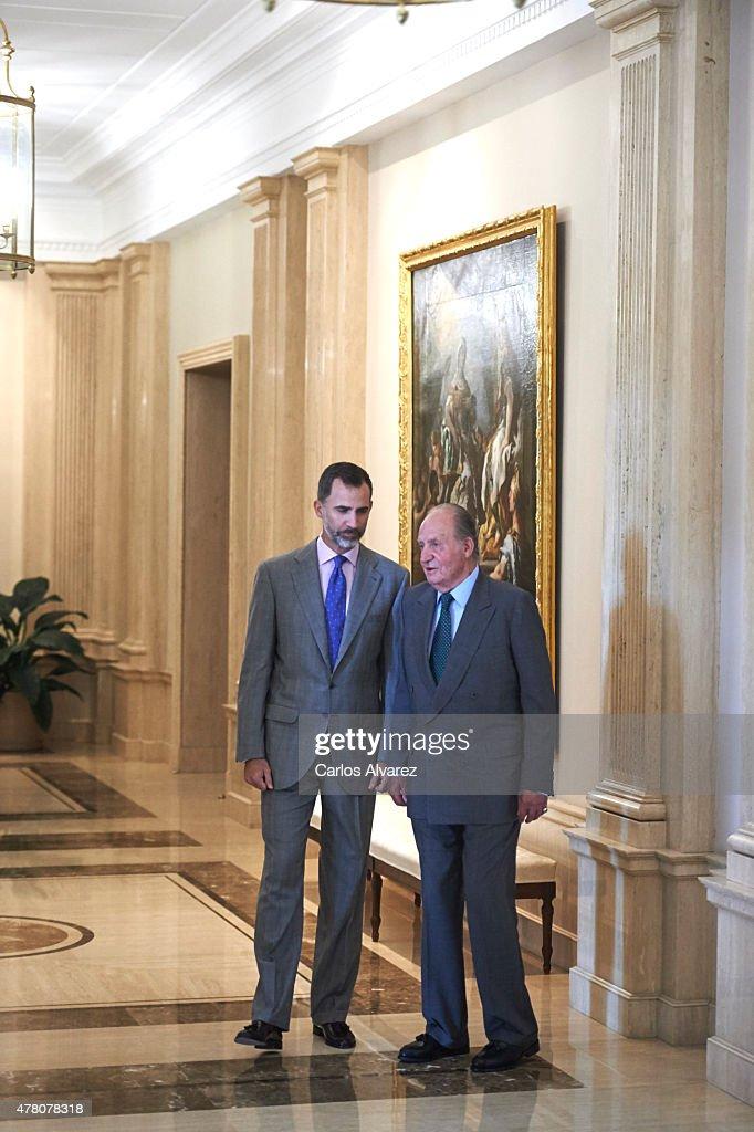 King Felipe VI of Spain (L) and King Juan Carlos (R) receive COTEC Foundation members at the Zarzuela Palace on June 22, 2015 in Madrid, Spain.